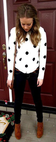 """Polka dot sweater. Love. From """"Fashion, Love & Lauren"""" blog"""