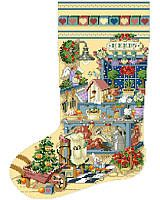 Happy memories in this heirloom stocking celebrating the charm of a garden shed trimmed with holiday cheer.