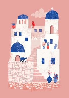 Cute art print of the island of Santorini in Greece, portraying its lovely white houses, numerous cats and colourful flower pots. By Essi Kimpim? Greece Drawing, Greece Painting, Art And Illustration, Luba Lukova, City Drawing, Mandala Drawing, Coral Blue, Greece Travel, Mykonos