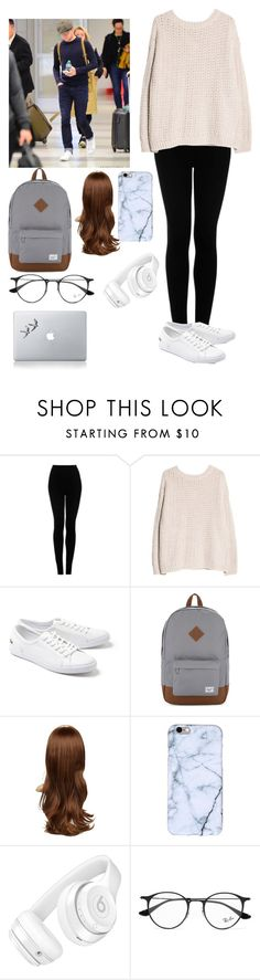 """""""Airport with Niall"""" by joelene-garcia ❤ liked on Polyvore featuring Topshop, MANGO, Lacoste, Herschel Supply Co., Beats by Dr. Dre, Ray-Ban and Vinyl Revolution"""