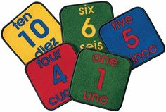 11 one-foot square Bilingual Number Squares #bilingual  http://www.sensoryedge.com/bilingual-number-carpet-squares.html