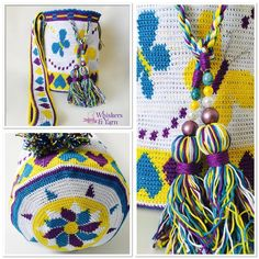 Perfect for summer and the beach. Size-diameter is 24 cm and the height is Money will be donated to 💞💞 ☎️For orders Whatsapp Tapestry Bag, Tapestry Crochet, Knit Crochet, Butterfly Bags, Crochet Butterfly, Bead Loom Patterns, Crochet Patterns, Mochila Crochet, Fillet Crochet