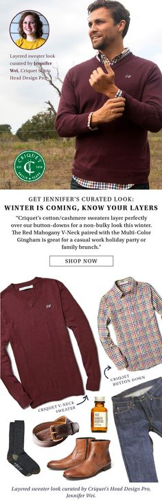 Know Your Layers, Winter is Coming from Criquet's Head Design Pro, @jennyALwei  | Featuring Criquet's V-Neck Sweater and our Multi Gingham Button Down | Criquet Shirts | Austin, TX