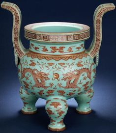 Lot 332 A rare large turquoise-ground iron-red 'dragon' tripod incense burner Qianlong seal mark in a horizontal line and of the period Sold for (US$ 225,739) inc. premium  Incense burners such as this were designed as the imposing centrepiece of five-piece garnitures gracing the temples and altars of the Imperial household. With their origins dating as far back as the ritual bronzes of the archaic period...  The confronted five-clawed dragons are a powerful symbol of unity in an Imperial