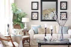 coastal cottage decor shows this room through the seasons, just by changing the pillows and tablescapes