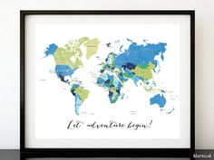 Custom quote printable world map with cities capitals countries custom quote printable world map with cities capitals countries us states labeled color combination earth tones neutral corner and wall gumiabroncs Gallery