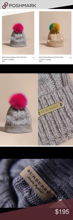 Wool cashmere beanie with fur pompom Burberry beanie with fur Pom-Pom, very soft and stylish! Two colors shown in the first picture available. Only one each! Burberry Accessories Hats