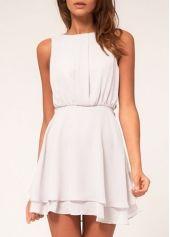 Laconic Beige Round Neck Sleeveless Chiffon Mini Dress