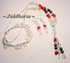 Set Necklace, Bracelet & Earrings Valentine Day: Freshwaterpearl Corals Crystal Quartz   - Handmade beaded Jewelry and Beading by Ziddharta by Ziddharta on Etsy
