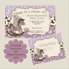 Printable Custom Hand Drawn Western Cowgirl Baby Shower Invitation And  Thank You Card Set