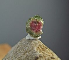 Green, Pink, Watermelon Tourmaline Natural Rough Crystal, RARE Raw Mineral Rock - 0.7g/3.5ct -11mm - Super Activator of Heart Chakra(17-510) on Etsy, $21.83