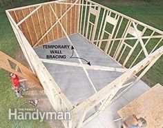 Framing a Garage: Install the sheathing. Get the plans: http://www.familyhandyman.com/garage/framing-a-garage/view-all