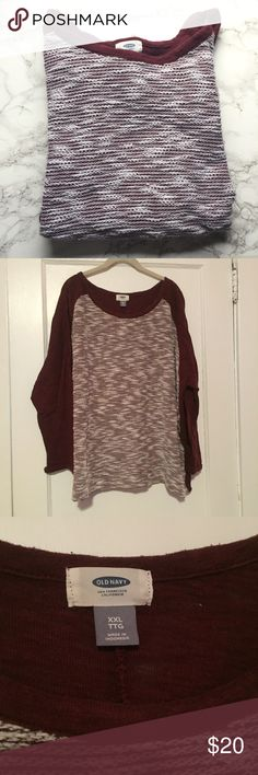 Old Navy Burgundy and White Sweatshirt Old Navy Burgundy and White Sweatshirt with terry cloth material. Worn but in good condition with some pilling Old Navy Tops Sweatshirts & Hoodies