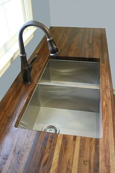 How to Cut, Seal & Install Butcherblock Countertops (with an undermount sink!) - Bower Power - How to Cut, Seal & Install Butcherblock Countertops (with an undermount sink! Diy Wood Countertops, Kitchen Countertop Materials, How To Install Countertops, Cuisines Diy, Cuisines Design, Wood Sink, Floating, Undermount Sink, Kitchen Redo