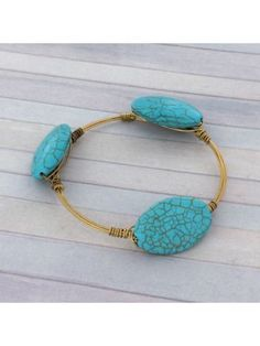 Handcrafted Turquoise Bead Wire Bangle #wiredbangle #baubles #designerinspired #baublesandbangles #wiredbracelet