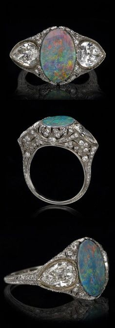Tiffany & Co. - A Belle Epoque platinum, opal and diamond ring. Buy Diamond Ring, Diamond Jewelry, Opal Jewelry, Real Gold Jewelry, Fine Jewelry, Antique Jewelry, Vintage Jewelry, Antique Art, Vintage Art Deco Rings