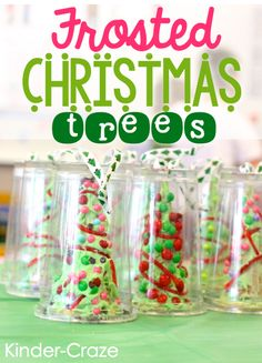Frosted Christmas Trees....My students LOVED making these this past year, and my room mom LOVED how easy it was!!! MUST remember the cups for  next Christmas, so that they can take their trees home!