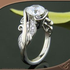Platinum Organic Wrap Style Mounting with Round Diamonds set throughout  Create Your Own Original!