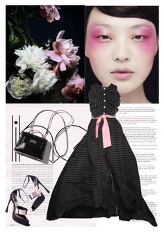 """""""Black & Pink"""" by shaneeeee ❤ liked on Polyvore featuring Roccobarocco, women's clothing, women, female, woman, misses, juniors, gown, vogue and pinkandblack"""