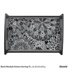 Black Mandala Pattern Serving Tray #ZeichenbloQ #zazzle #servingtray #mandala #kitchendecor #blackandwhite #abstract #art