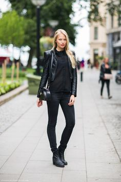 All black style with different fabric. Just Love Love it  This picture is from Stockholm Street Style.
