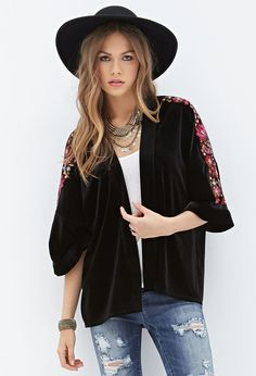 Floral-Embroidered Velvet Kimono   FOREVER21 - 2000083404