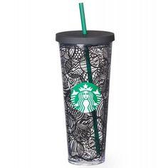 Starbucks Blak Line Acrylic Cold Tumbler 24 Fl Oz with Reusable Straw Starbucks Tumbler Cup, Copo Starbucks, Starbucks Cup Art, Starbucks Drinks, Starbucks Coffee, Starbucks Water Bottle, Starbucks Recipes, Plastic Cup With Straw, Tumbler With Straw