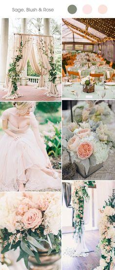 trending sage and blush spring summer wedding color ideas 2017