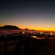 Table Mountain just after sunset - as seen from Tygerberg hill (Cape Town Northern Suburbs). #CapeTown - pic Instagram Table Mountain, Beach Tops, Cape Town, National Geographic, South Africa, Trip Advisor, The Good Place, Surfing, Sunset