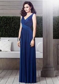 64.34$  Buy here - http://vitbv.justgood.pw/vig/item.php?t=2dsz6b614571 - Dessy 2913..... Full length, Sleeveless, V neck Dress.....Estate Blue.....Sz 16