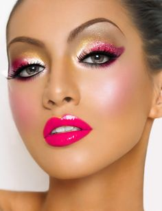 Makeup, glitter, hot pink lips