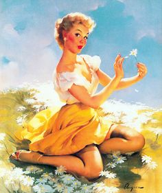 """Daisies Are Telling"" by Gil Elvgren, 1955"