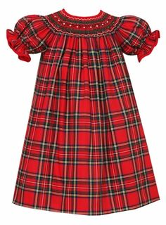 Anavini Baby / Toddler Girls Red Christmas Holiday Plaid Smocked Dress - Bishop