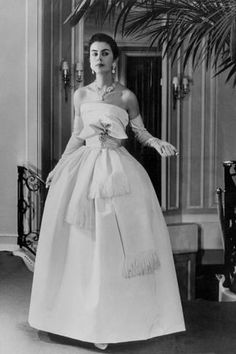 Photo: White Evening Dress by Dior, February 1958 : 18x12in