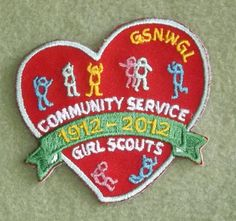 Girl Scouts Northwestern Great Lakes 100th anniversary patch.  Community Service 1912-2012