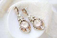 Antique gold Swarovski chandelier earrings- LELAND – Treasures by Agnes Bridal Earrings, Beaded Earrings, Statement Earrings, Bridal Jewelry, Pearl Earrings, Pearl Cream, White Opal, Chandelier Earrings, Antique Gold