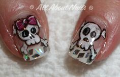 High quality products sold at All About Nails. Start a new career become a nail technician today! Skull Nail Art, Skull Nails, Skull Painting, Painting Tattoo, Sculpted Gel Nails, Nail Technician, Hand Painted, Tattoos, Awesome