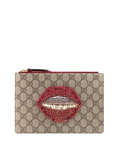 Merveilles Lips Small Pouch Bag, Multi