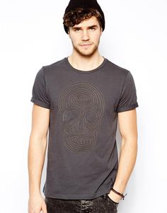 ASOS T-Shirt With Skull Rope Design in Washed Black