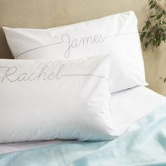 Personalised Script Embroidered Pillowcase -  Wedding gifts that will leave the new couple head over heels in love all over again. Thoughtful and personalised presents for the newlyweds.