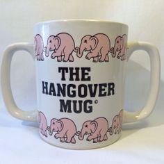 1983 Hangover Mug Pink Elephants 2 Handles Chadwick Miller Coffee Cup
