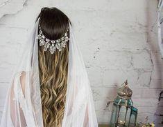 Crystal Wedding Hair Piece, Chain Headpiece, Bohemian Drape Veil, Art Deco Hair Jewelry