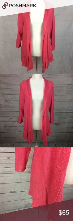 Eileen Fisher Pink Open Front Cardigan Size L Beautiful 100% hemp Cardigan sweater. Label tag is missing some thread as pictured. Eileen Fisher Sweaters Cardigans