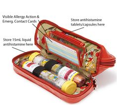 Accessory case to throw in your handbag - room for Epi-Pens medicine, asthma inhaler and Allergy Action card