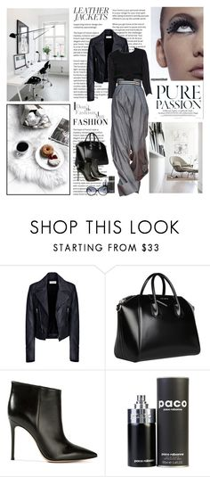 """""""Cool-Girl Style: Leather Jackets"""" by dezaval ❤ liked on Polyvore featuring Sessions, Balenciaga, Marni, Givenchy, Gianvito Rossi, Paco Rabanne, Prada and Oliver Peoples"""