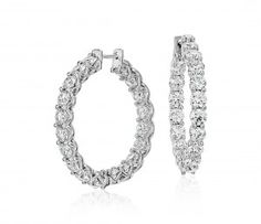 Womens 6 ct Blue Nile Signature Diamond Hoop Earrings in Platinum
