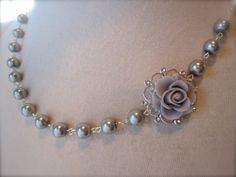 Gray silver Wedding Necklace Asymmetrical Choker by JoolaDesigns