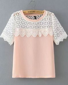 Pink Lace Short Sleeve Loose Blouse 14.17