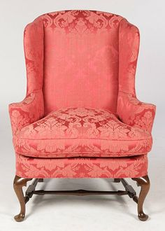 Queen Anne Style Upholstered Wing Chair With Loose Cushion Seat Raised On  Cabriole Legs And Turnedamerican period queen anne furniture   04 queen anne side chair  . Antique Queen Anne Upholstered Chairs. Home Design Ideas
