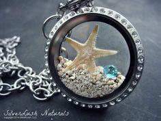 Beach Themed Locket Jewelry - LARGE Signature Lock-Its by SilverLush - Natural Beach Jewelry